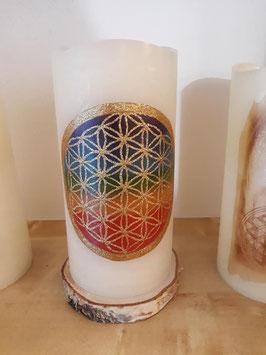 Led Kerze Blume des Lebens Chakrenfarben