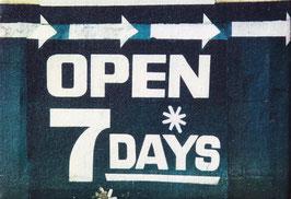Open 7 Days (Mono) Canvas