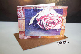 Paper Rose Blank Inside Greeting Card