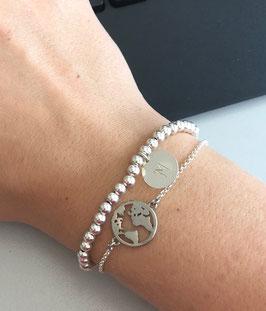 Perlenarmband mit Münze - 925 Silber