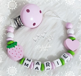 """Schnullerkette """"Kleines Erdbeerchen"""" rosa"""