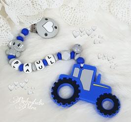"""Beisskette Silikon """"Kleiner Traktor Elefanterl """" dunkelblau ausverkauft, alle anderen Farben sind verfügbar"""