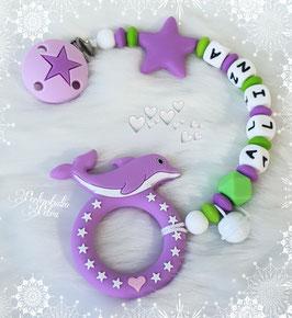 """NEU!!! IT´s SUMMERTIME!!! Beißkette Silikon """"little Dolphin"""" violett/grün"""