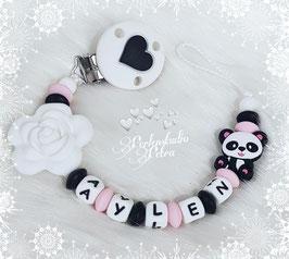 "SILIKON Schnullerkette ""Panda`s zauberhaftes Blümchen"""