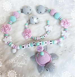 "Kinderwagenkette Set ""Schildi in Love"" Silikon/Holz  rosa/mint"