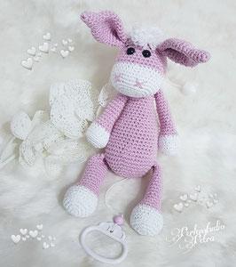 """Häkel-Kuschelspieluhr """"kleiner Esel"""" rosa"""
