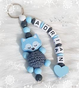 """Namensanhänger """"Schlaf fein, kleines Füchschen"""" blau"""