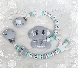 """NEU!!!! SILIKON Beisskette & Schnullerkette Set """"Kleiner Elefant"""""""