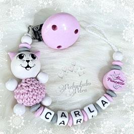 """Schnullerkette """"Kleines Kätzchen"""" rosa/grau"""