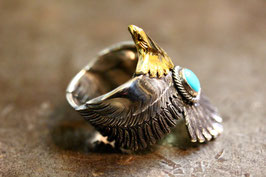 K18 Head Eagle Ring / Turquoise