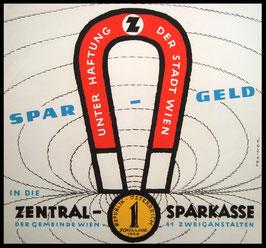 Poster (Traimer - Heinz Traimer: Spar Geld unter Haftung der Gemeinde Wien) Original Siebdruck von 1959.