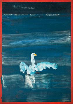 """Rui Ferreira -o.T. """"Millstaetter See Schwan"""" (artwork / Kunstwerk 2020)."""