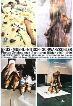 Poster (Div. Brus / Muehl / Nitsch / Schwarzkogler -  Photos Zeichnungen Partituren Bilder 1960-1970) 1982.