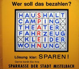 Poster (Traimer - Heinz Traimer: Wer soll das bezahlen? Sparen!) Original Siebdruck von 1965.