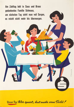 Poster (Traimer - Heinz Traimer: Sparkasse - Am Zahltag lebt in Saus und Braus...) 1959 Repro 2017.