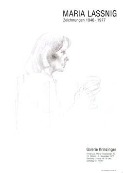 Maria Lassnig - Zeichnungen 1946-1977,  Poster 1977.