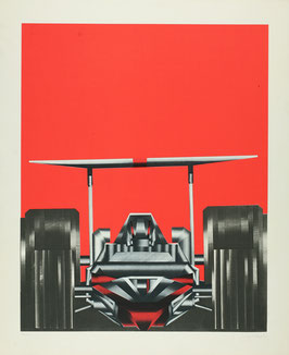 Fritz Mikesch - Rennwagen / racing car (Edition / Art print ca 1970s).