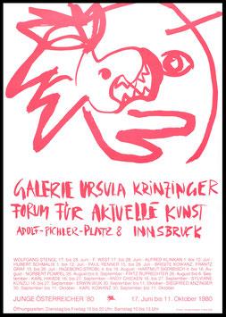 Poster (Div. Graf / Kowanz: Franz Graf und Brigitte Kowanz - Junge Österreicher) 1980.
