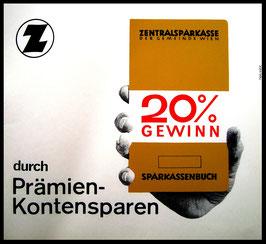 Poster (Traimer - Heinz Traimer: 20% Gewinn durch Prämien-Kontensparen) Original Siebdruck von 1966.