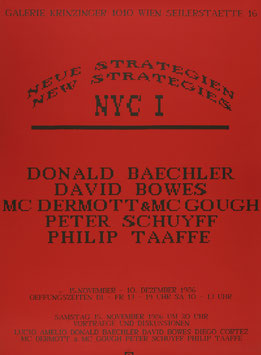 Poster (Div. Neue Strategien - New Strategies NYC I (Baechler, Bowes, Dermott, Mc Gough, Schuyff, Taafe) 1986.