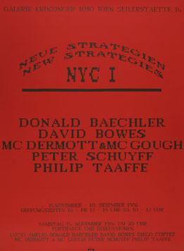 Neue Strategien - New Strategies NYC I (Baechler, Bowes, Dermott, Mc Gough, Schuyff, Taafe) , Poster 1986.