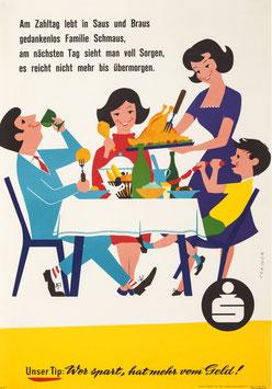 Poster (Traimer - Heinz Traimer: Am Zahltag lebt in Saus und Braus...) 1959 Repro 2017.