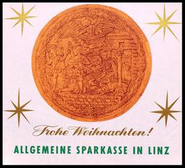 Poster (Traimer - Heinz Traimer: Frohe Weihnachten / Adoration 1753 Relief ) Original Druck um 1956..