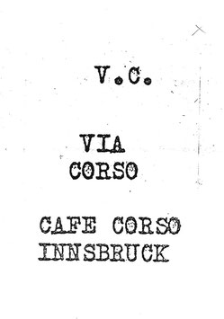 V.C. (Katalog / Catalogue: Via Corso - Cafe Corso Innsbruck) 1997.