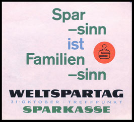 Poster (Traimer - Heinz Traimer: Spar -sinn ist Familien -sinn ) Original Druck von 1960.