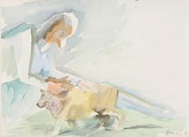Siegfried Anzinger - o.T vulgo: Mann mit Löwe (Original Kunst / artwork 2001).