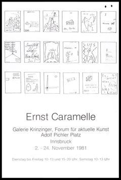 Poster (Caramelle - Ernst Caramelle - Ausstellung) 1981.