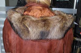 Waschbär Kapuzenrand in Braun-Beige - 73 cm x 15 cm - [0221]