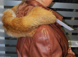 Rotfuchs Kapuzenrand in Orange-Braun-Weiß - 72 cm x 15 cm - [0218]
