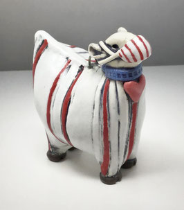 Red Stripe Sheep Ornament