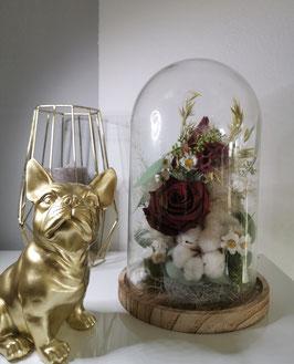 Glasglocke Burgunder