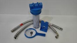 Kit Installation Adoucisseur avec Filtre charbon actif - Flexible en 500 mm coudés