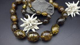 Luxus  Wunderschöne einzigartige Natur-Bernsteinkette Oliven Form Nr. 1.2