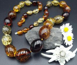 Luxus  Wunderschöne einzigartige Natur-Bernsteinkette Oliven Form Nr. 1