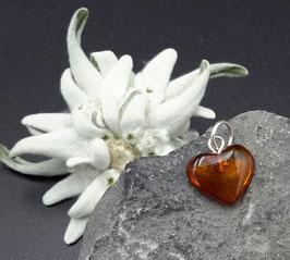 Natur-Bernstein Anhänger Herz  Silber Nr. 13