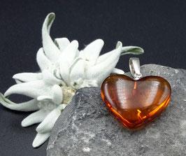 Natur-Bernstein Anhänger Herz 925 Sterling Silber Nr. 8.1