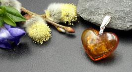 Natur-Bernstein Anhänger Herz 925 Sterling Silber Nr. 8