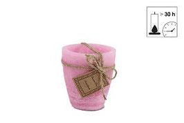 Countryfield Outdoor Kerze rosa mit Jute