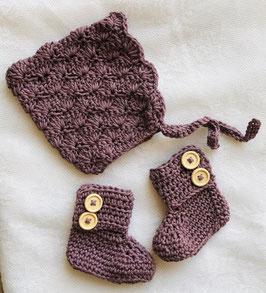 Set Babyboots und Elfenmütze aus Pima-Baumwolle