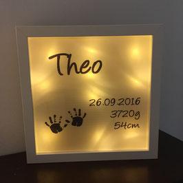LED Bilderrahmen zur Geburt mit Handabdrücken