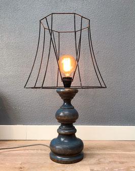 Tafellamp met blauwe houten voet