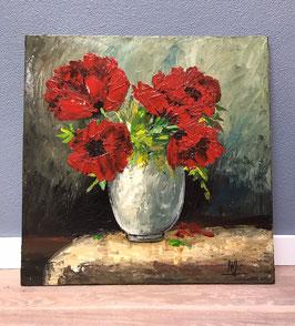 Schilderij met rode bloemen