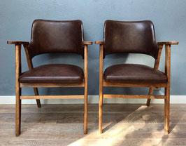 Set stoelen met bruine bekleding