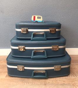 Set 3 blauwe koffers