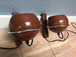 Set bruine wandlampjes