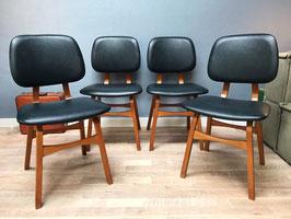 Set van 4 zwarte stoelen